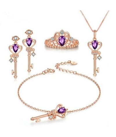 Set de plata llave de corona amatista