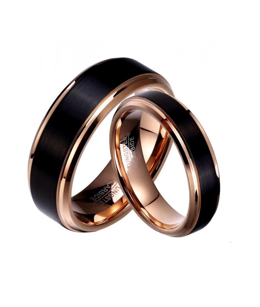 Argollas de matrimonio en tungsteno negro franja color oro rosado