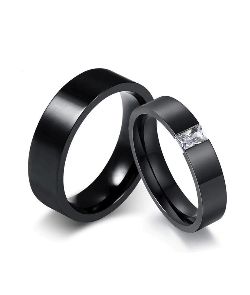 Argollas de matrimonio zirconia en acero inoxidable