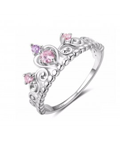 Anillo corona pink en plata
