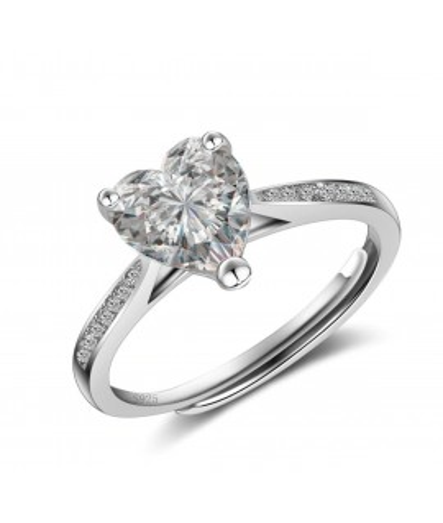Anillo de compromiso ajustable corazón de amor en plata