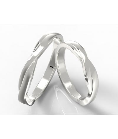 Argollas de matrimonio onduladas en plata