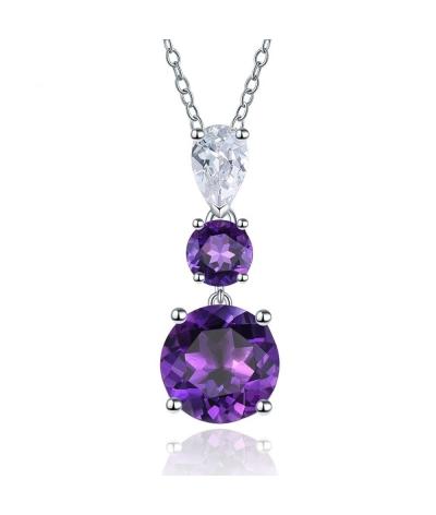 Collar con dije amatista púrpura en plata