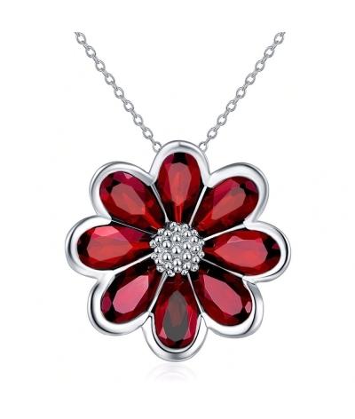 Collar con dije flor deslumbrante en plata