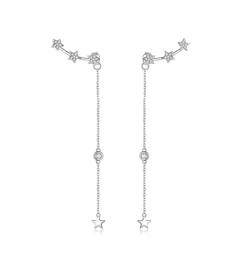 Aretes largos de estrellas en plata