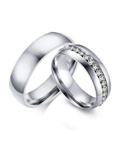 Argollas de matrimonio banda zirconia en acero inoxidable