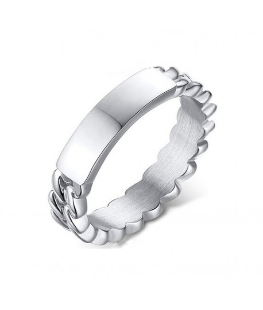 Anillo forma de cadena personalizable en acero inoxidable
