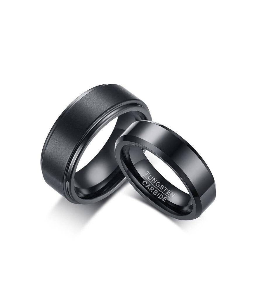 Argollas de matrimonio negras en tungsteno