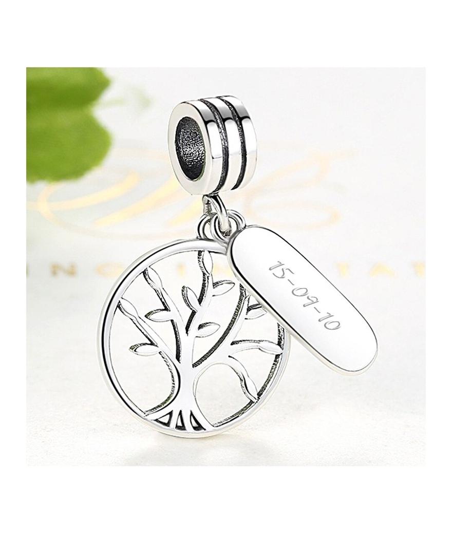 Dije árbol de la vida grabado en plata