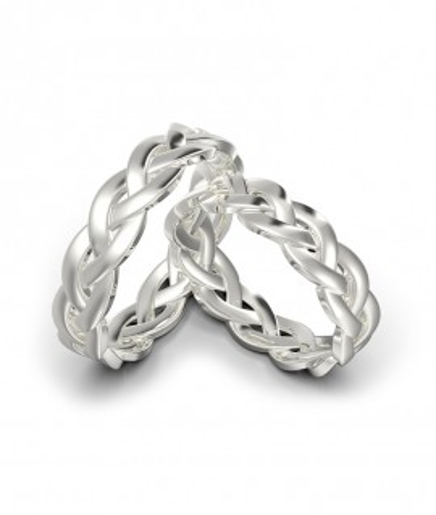 Argollas de matrimonio trenzadas en plata