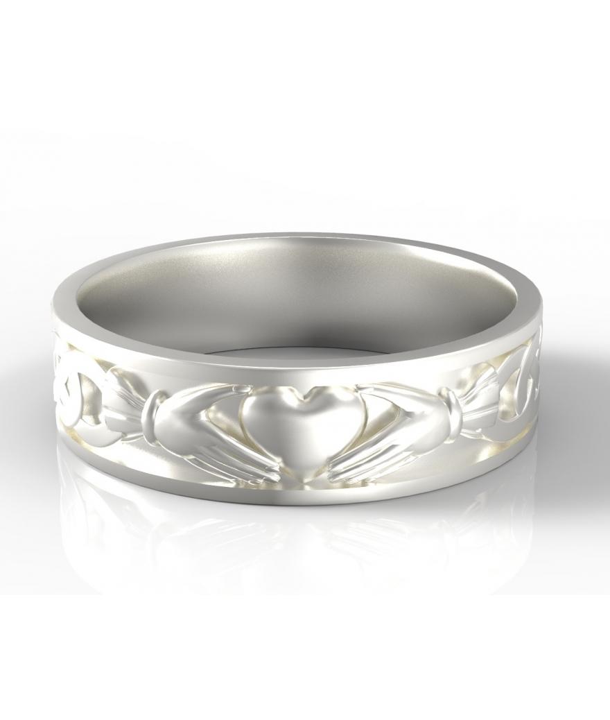 Argolla Claddagh para hombre en plata