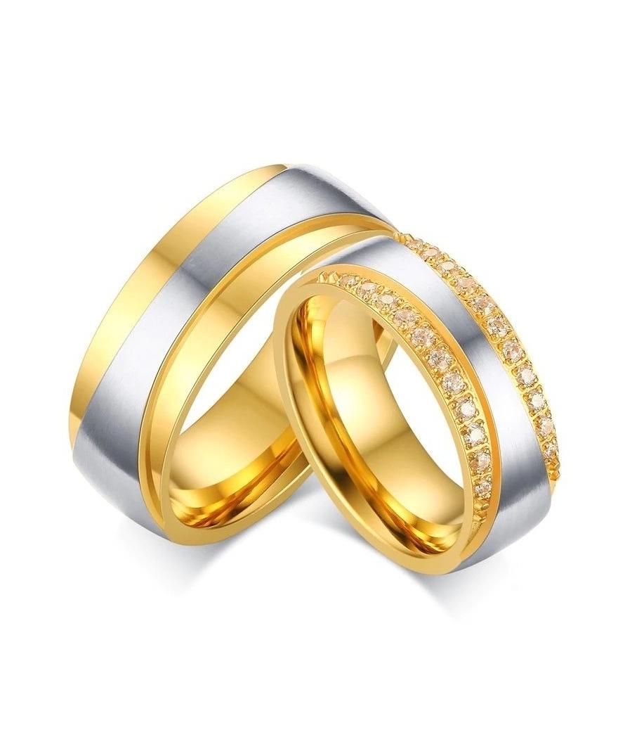 Argollas de matrimonio franjas de lujo en acero inoxidable