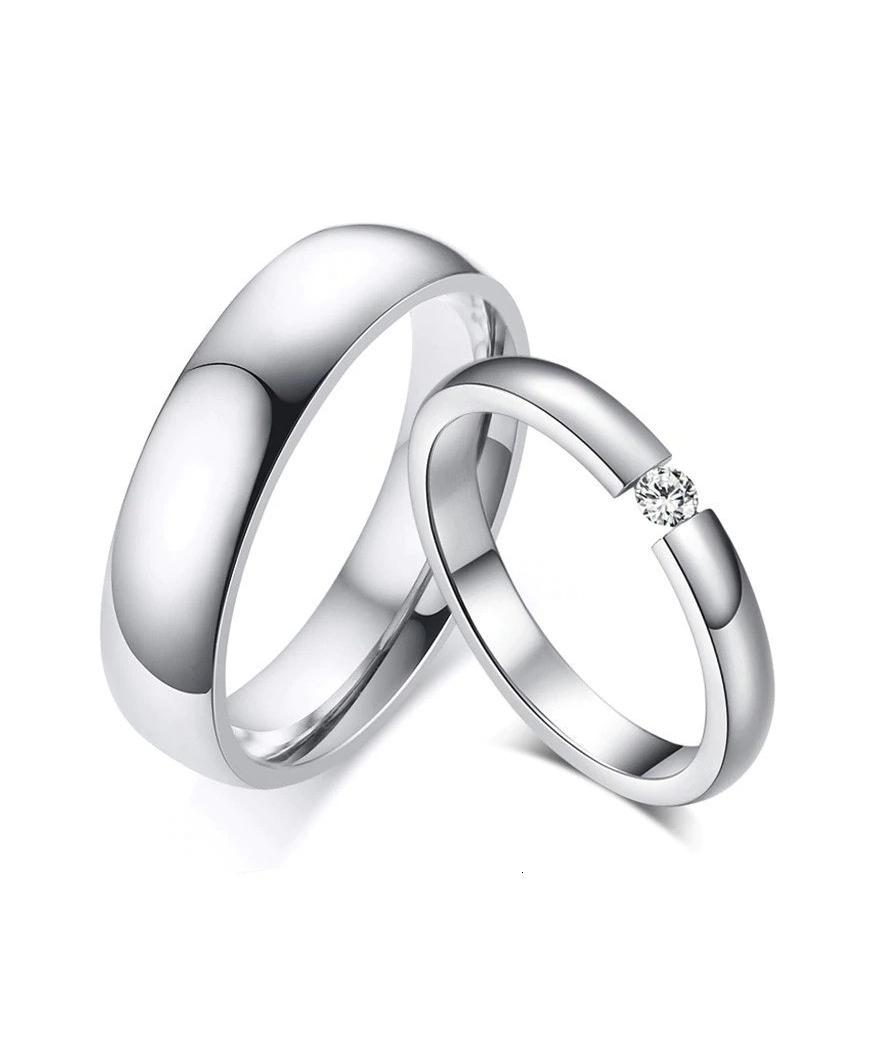 Argollas de matrimonio con zircón en acero inoxidable