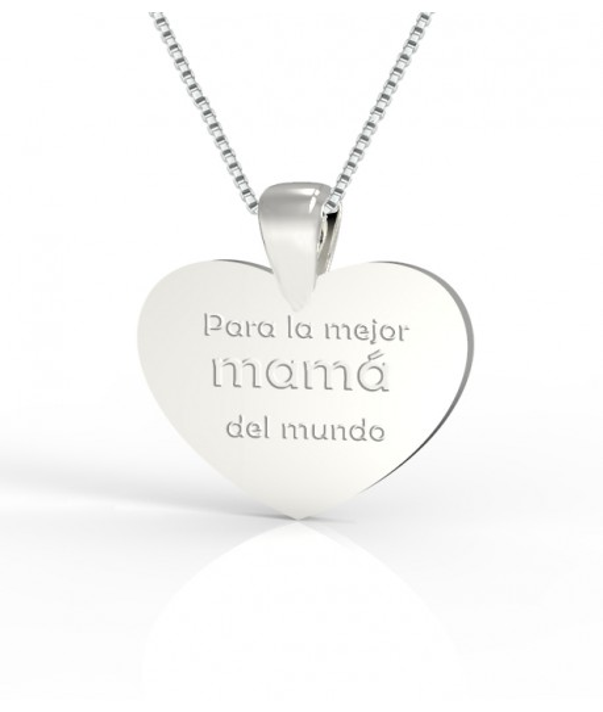 Dije de plata para mamá corazón personalizable en plata