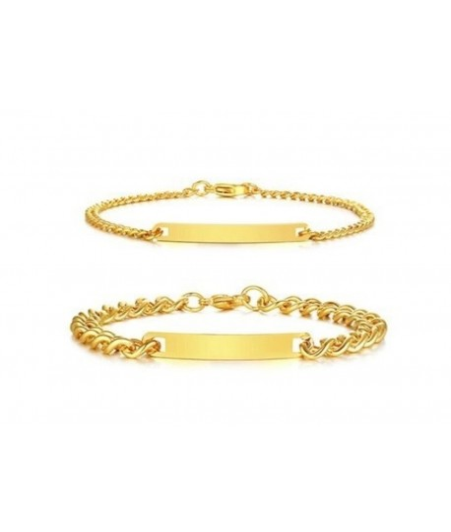 Brazaletes dorados para parejas grabados en acero
