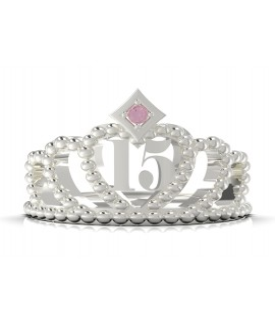Anillo corona 15 años en plata