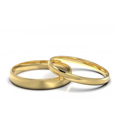 Argollas de matrimonio clásicas delgadas en oro