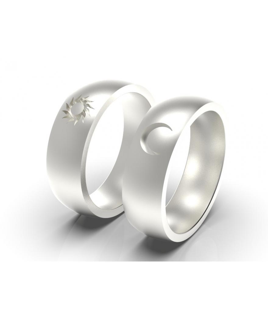 Argollas de matrimonio sol y luna en plata