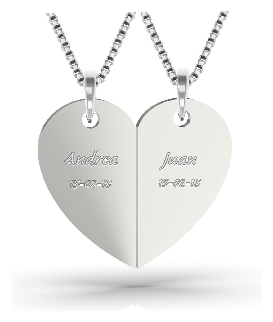 Collares para pareja en plata corazón
