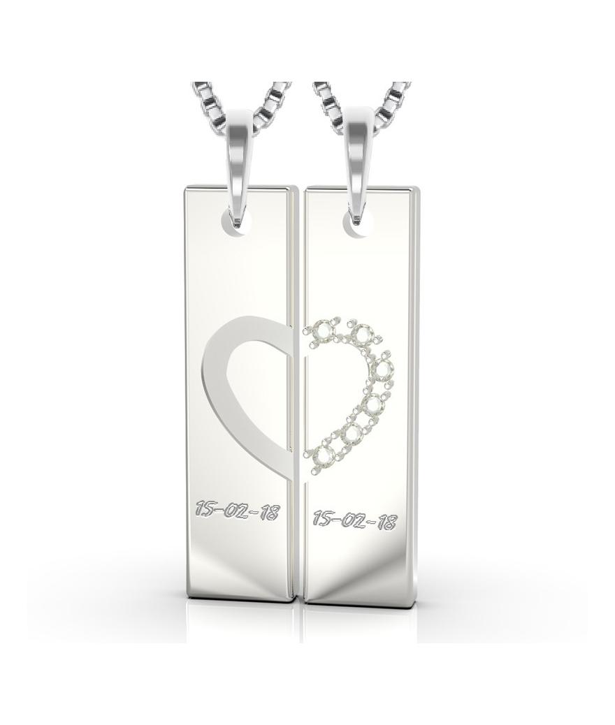 Collares para pareja en plata barra