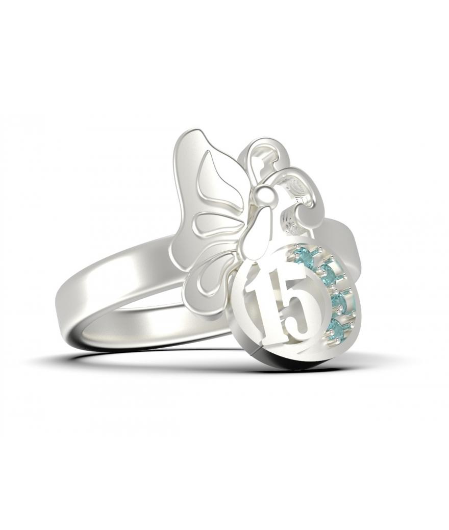 Anillo 15 años de mariposa en plata